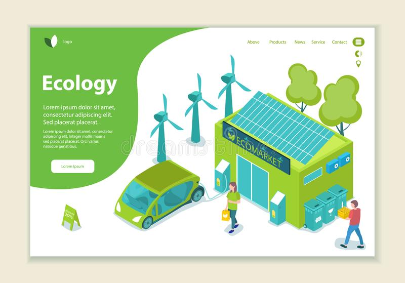Concept of ecology problem, generation and saving green energy, website template. 3D isometric style vector illustration royalty free illustration