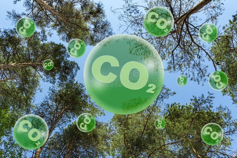 The concept of ecology. Reduced carbon emissions stock images
