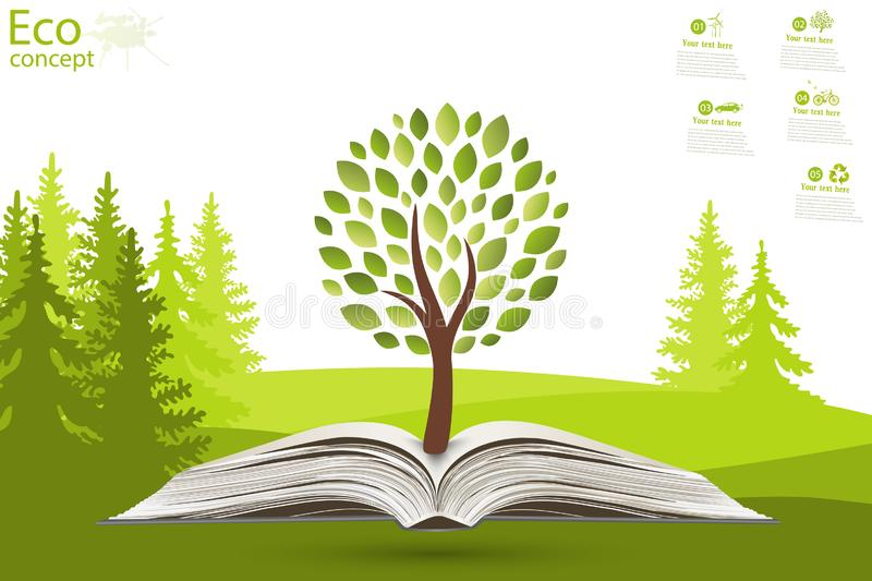 The concept of ecology, to save the planet. stock illustration