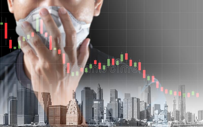Concept of economic recession during the coronavirus crisis. Downtrend stock and man with mask background royalty free stock image