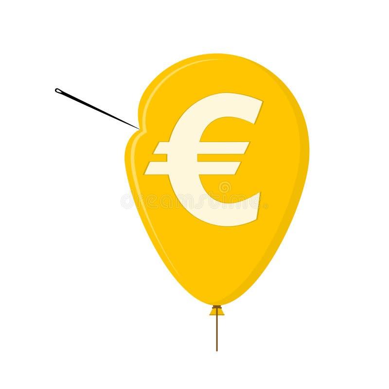 The needle pierces the balloon. Vector illuistration. stock illustration