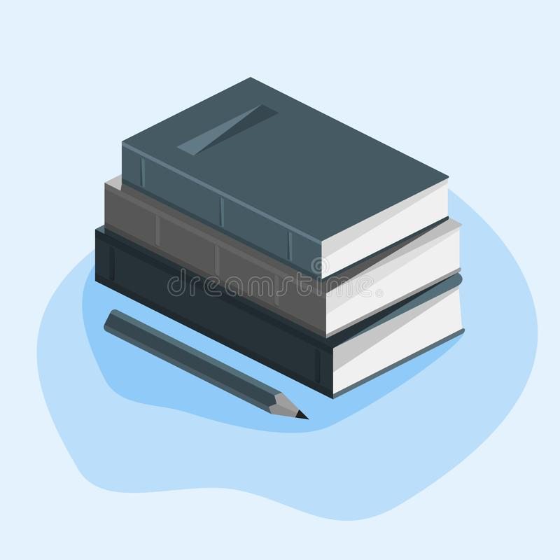 Concept of education, course of study, stack of books, pencil. On a white background with mathematical symbols. Vector image vector illustration