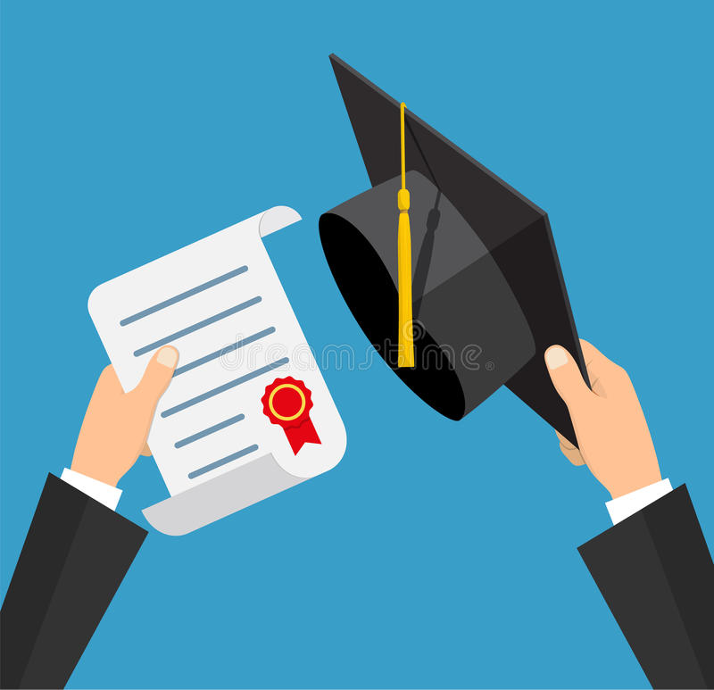 Concept of education. Graduation hat and diploma with stamp and ribbon in hands of student. vector illustration in flat stock illustration
