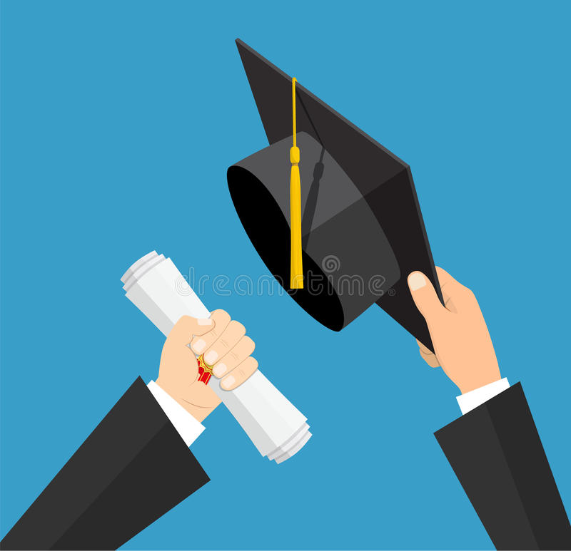 Concept of education. Graduation hat and diploma with stamp and ribbon in hands of student. vector illustration in flat vector illustration