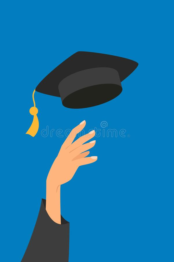 Concept of education, hand of graduate throwing graduation hat in the air vector illustration
