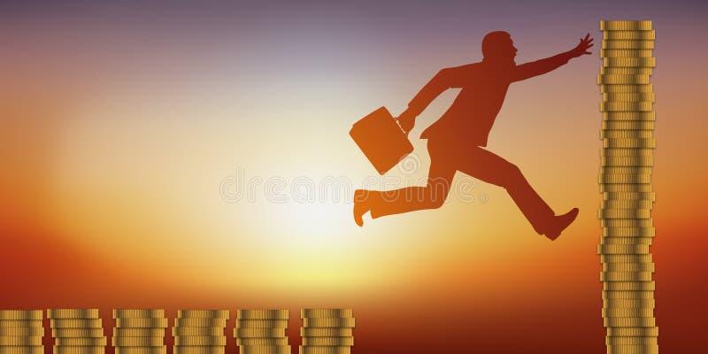 Concept een ambitieuze mens, klaar om zijn leven te riskeren, rijk te worden vector illustratie