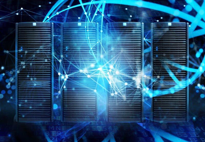 Concept een datacentrumruimte met databaseserver en netwerkgevolgen vector illustratie