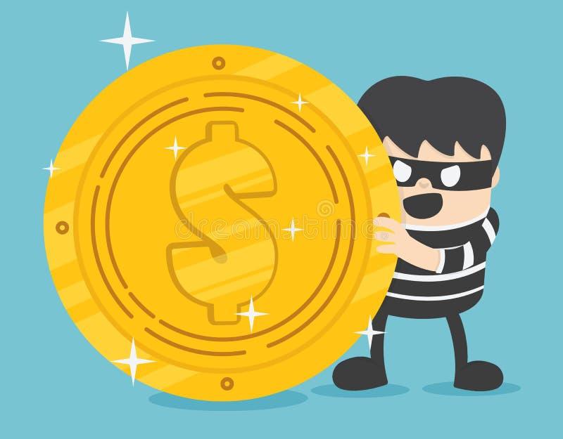 Concept een dief met het grote ontwerp van de muntstukstapel Internet-het binnendringen in een beveiligd computersysteem vin vector illustratie