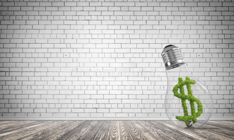 Concept of effective business innovations. Glass lightbulb with green dollar symbol inside in empty room with grey brick wall on background. 3D rendering vector illustration