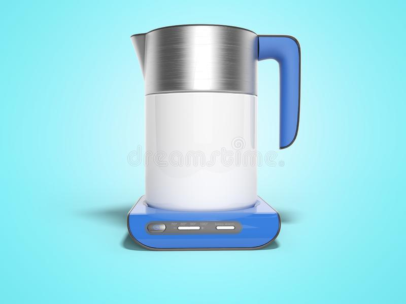 Concept electric kettle on blue stand with buttons of inclusions with boiling water 3d render illustration on blue background with. Concept electric kettle on stock illustration