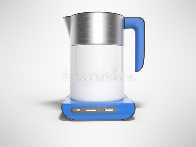 Concept electric kettle on blue stand with buttons of inclusions with boiling water 3d render illustration on gray background with. Concept electric kettle on vector illustration