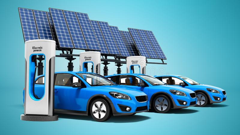 Concept electric refill for electric cars with solar panels view. Of 3d render on blue background with shadow royalty free illustration