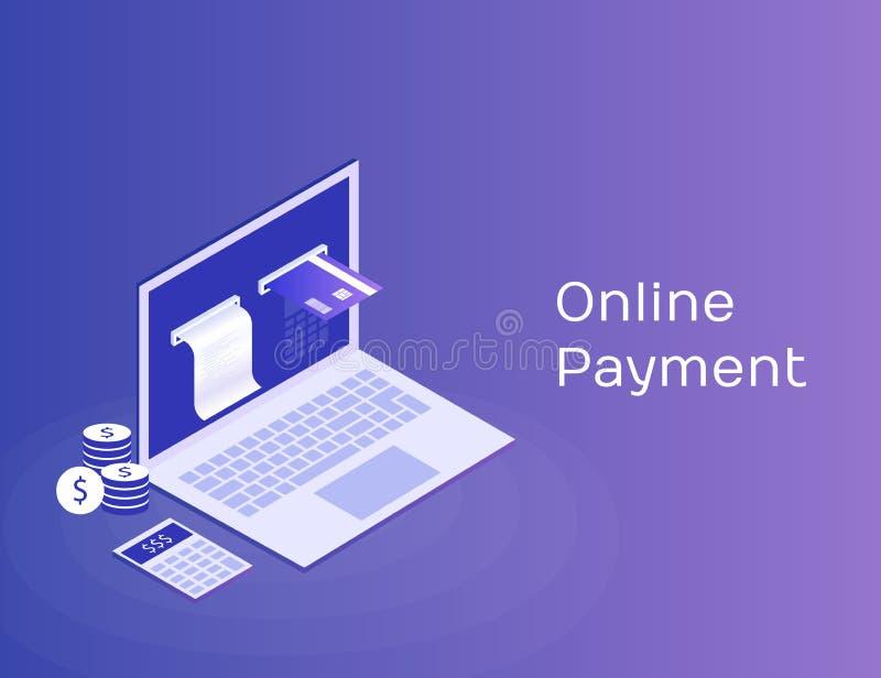 Concept elektronische rekening en online bank, laptop met controleband en betaalkaart Moderne 3d isometrische vectorillustratie royalty-vrije illustratie