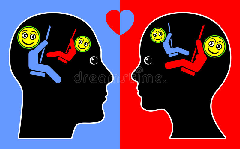 Concept of Empathy. Psychological concept sign of man and woman in good vibration and congruity stock illustration