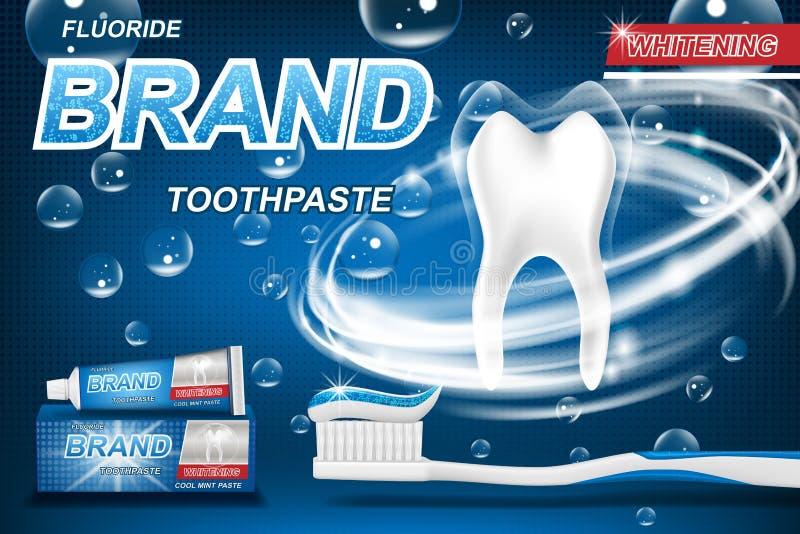 Concept en bon état de pâte dentifrice, d'isolement sur le bleu Modèle de dent et design d'emballage de produit pour l'affiche ou illustration de vecteur
