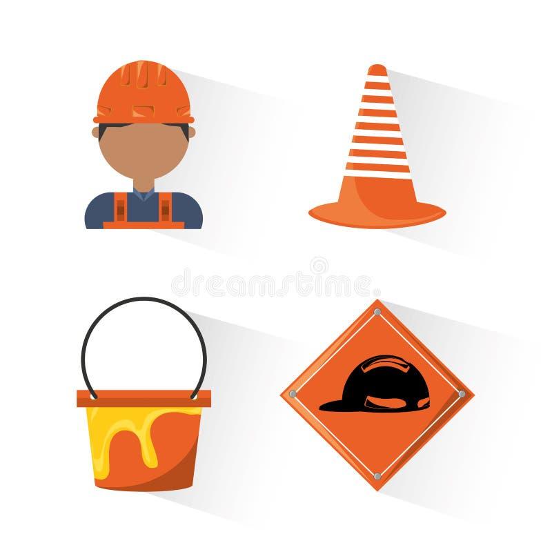 Concept en construction d'icônes plates illustration libre de droits