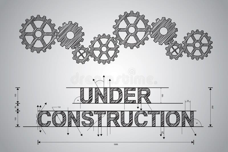 Concept en construction, dessin esquissé. illustration libre de droits