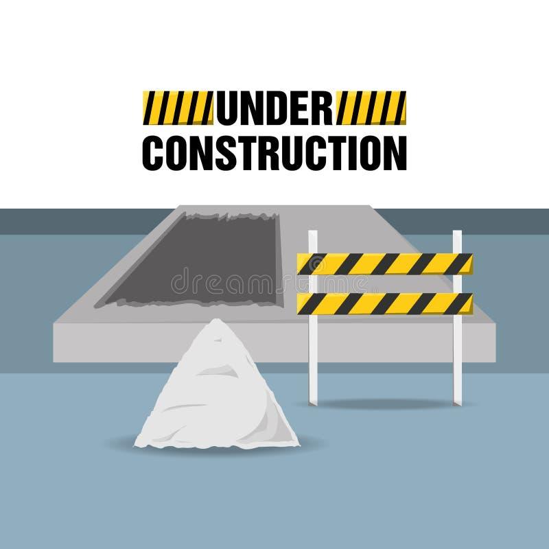 Concept en construction plat avec le béton illustration libre de droits