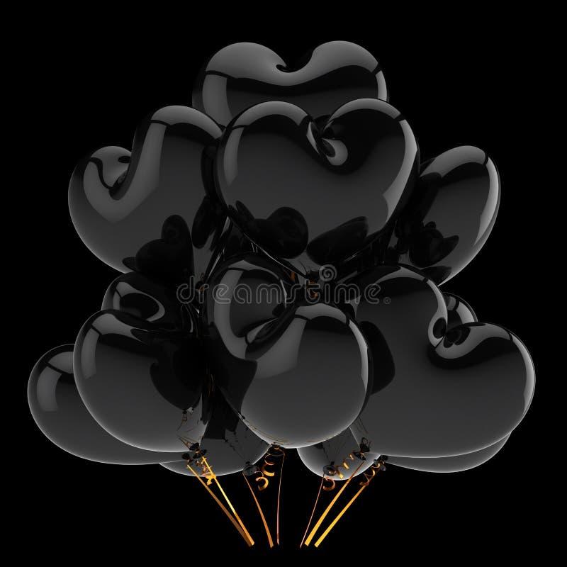 Concept en forme de coeur noir d'icône de dépression de ballons de partie illustration libre de droits