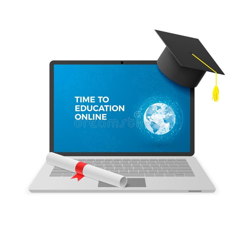 Concept en ligne d'éducation Carnet avec le chapeau d'obtention du diplôme et le diplôme et le texte en ligne d'éducation sur l'é illustration stock