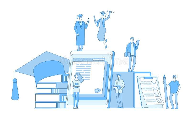 Concept en ligne d'éducation Culture de bibliothèque, cours d'étude d'étudiants de connaissance des langues de lecture de diction illustration stock