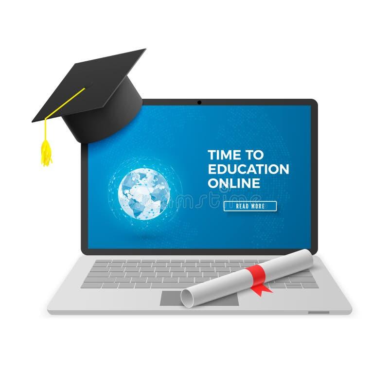 Concept en ligne d'éducation Technique d'apprentissage éloignée Carnet avec le chapeau d'obtention du diplôme et le diplôme et l' illustration de vecteur