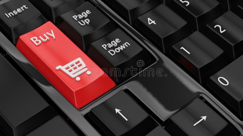 Concept en ligne d'achats Claviers avec un bouton d'achat et une ic?ne de symbole de chariot ? caddie illustration 3D rendu 3d image stock
