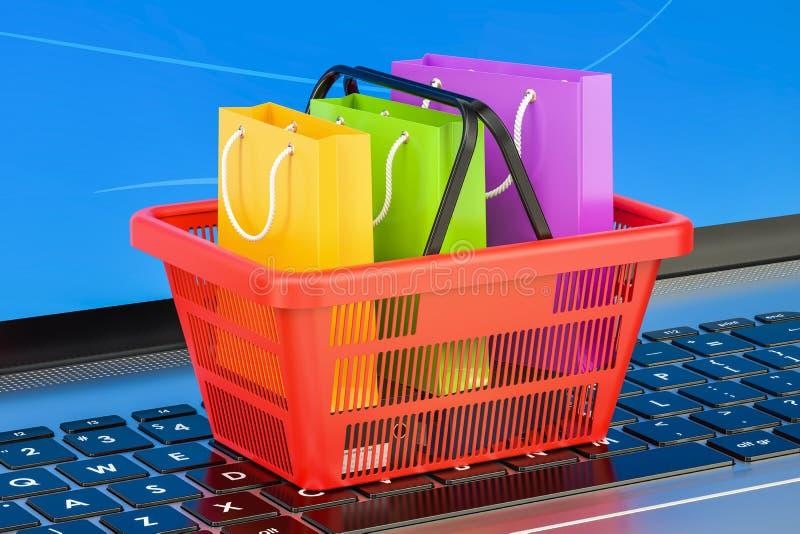 Concept en ligne d'achats d'Internet sur le clavier d'ordinateur portable, renderin 3D illustration libre de droits