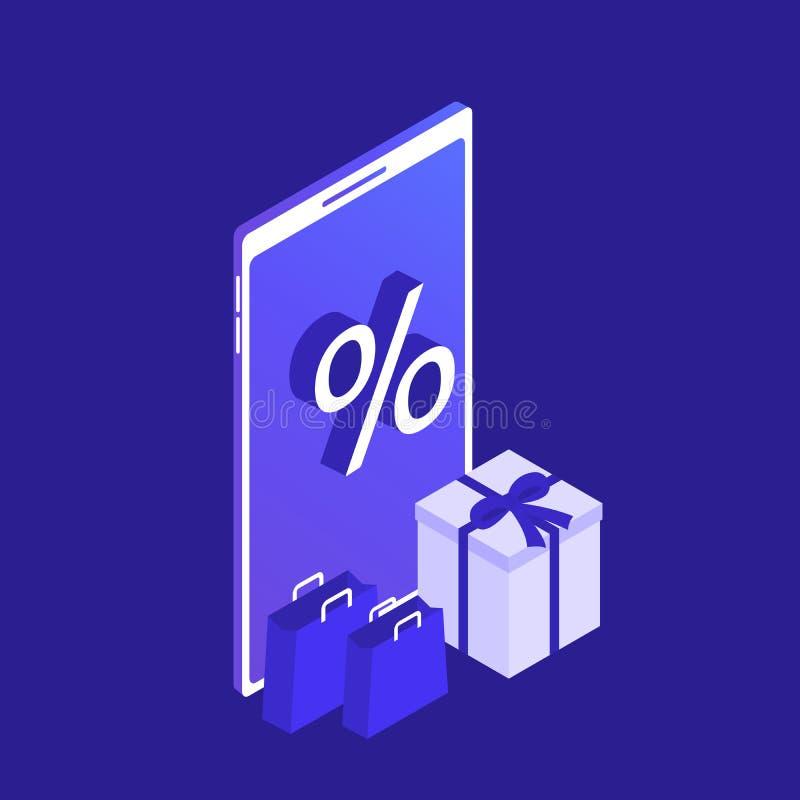 Concept en ligne d'achats de téléphone intelligent isométrique Magasin en ligne Grande vente Commerce électronique Illustration m illustration stock