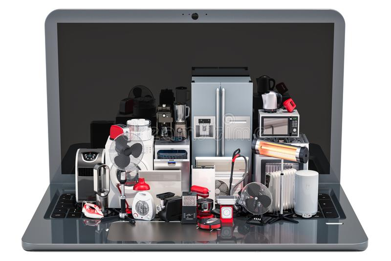 Concept en ligne d'achats Ordinateur portable avec les appareils de cuisine et ménagers illustration de vecteur