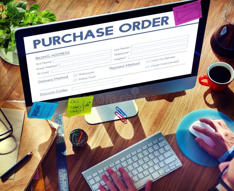 Concept en ligne d'affaire de forme d'ordre d'achat images stock