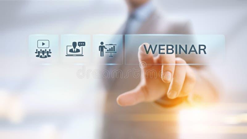 Concept en ligne d'affaires d'?ducation de s?minaire d'apprentissage en ligne de Webinar image stock