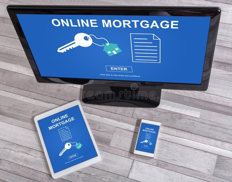 Concept en ligne d'hypothèque sur différents dispositifs photo libre de droits