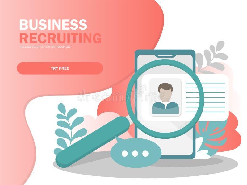 Concept en ligne d'illustration de vecteur de recrutement, homme d'affaires analysant le résumé illustration stock