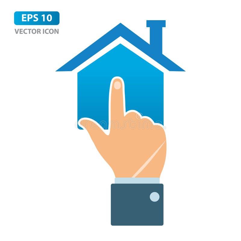 Concept en ligne d'immobiliers, main d'homme d'affaires se dirigeant pour autoguider l'icône Illustration de vecteur illustration libre de droits