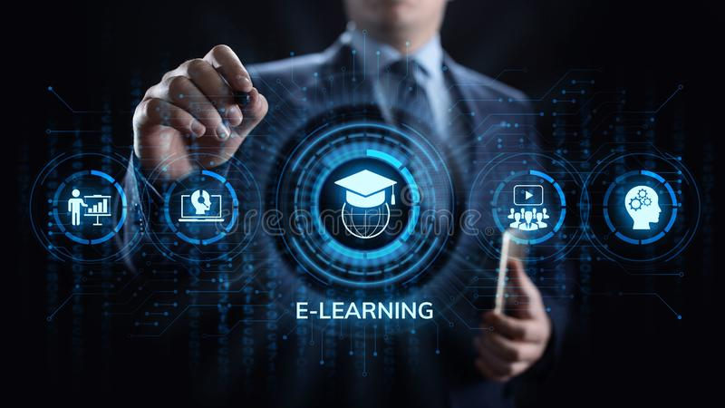 Concept en ligne d'Internet d'affaires d'éducation d'apprentissage en ligne sur l'écran photographie stock libre de droits