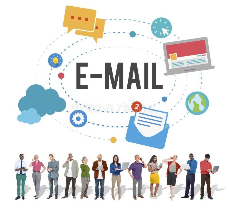 Concept en ligne d'Internet de connexion de télécommunications mondiales d'email illustration stock