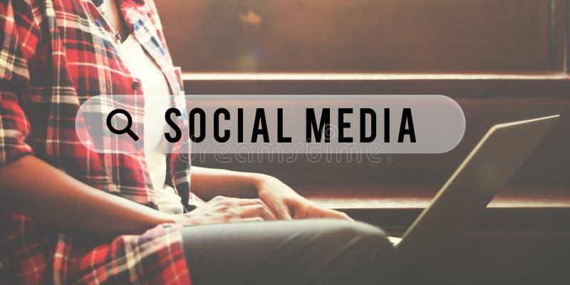 Concept en ligne d'Internet de media de Web social de réseau photo libre de droits