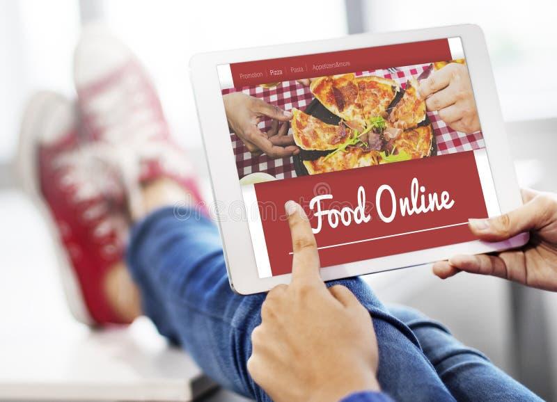 Concept en ligne d'Internet de pizza d'ordre de nourriture image stock