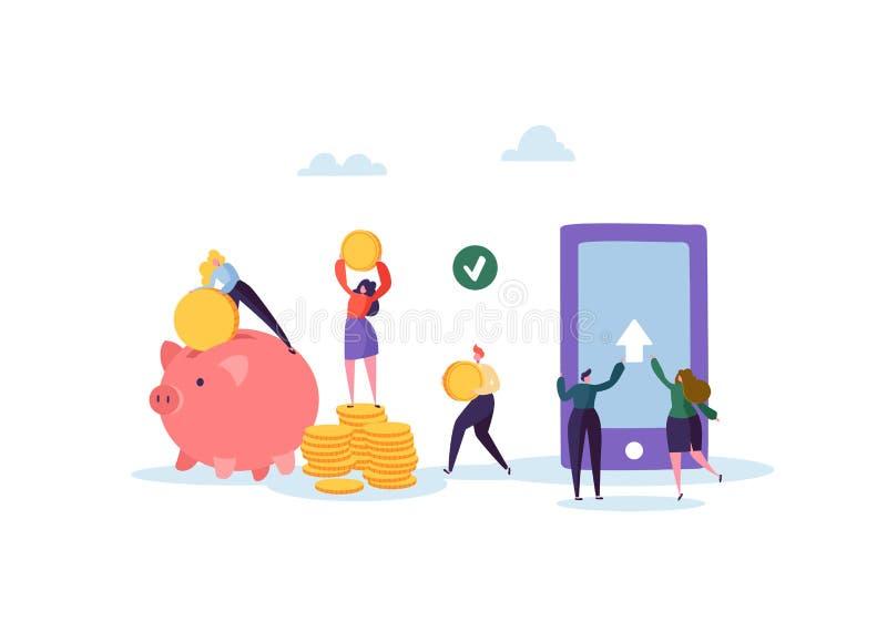 Concept en ligne d'opérations bancaires Caractères plats de personnes envoyant l'argent de l'application mobile sur Smartphone illustration de vecteur