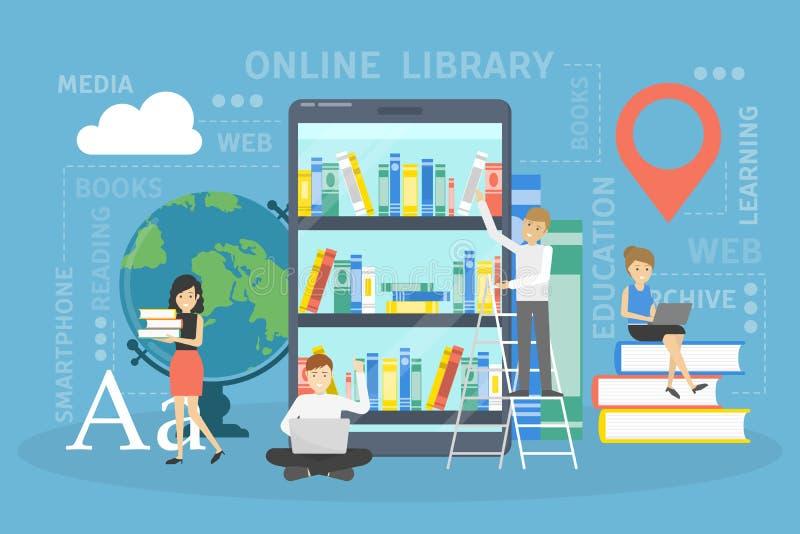 Concept en ligne de bibliothèque Utilisant le téléphone pour l'étude illustration libre de droits