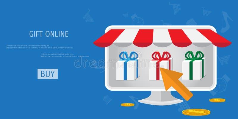 Concept en ligne de cadeaux d'achats de vecteur illustration libre de droits