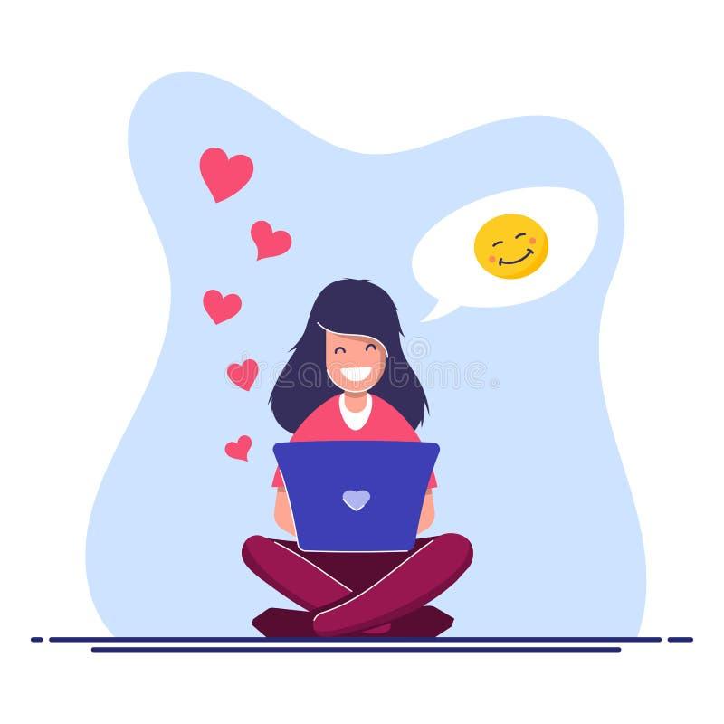 Concept en ligne de causerie Illustration plate de vecteur La jeune fille avec un ordinateur portable communique sur l'Internet illustration de vecteur