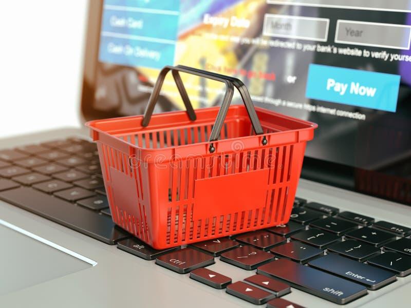 Concept en ligne de commerce électronique d'achats Panier à provisions sur l'ordinateur portable KE illustration libre de droits