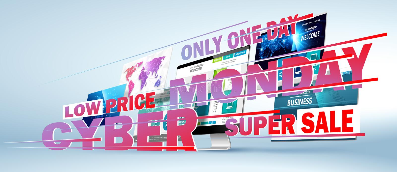 Concept en ligne de conception web de vente de lundi de Cyber Vecteur illustration de vecteur