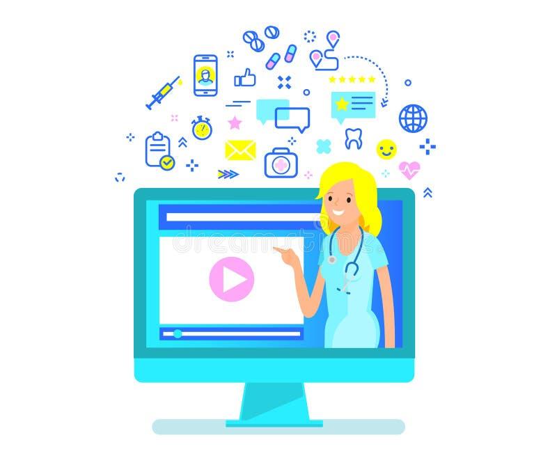 Concept en ligne de consultation médicale illustration de vecteur