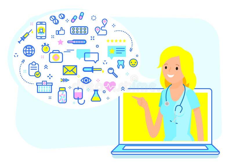 Concept en ligne de consultation médicale illustration stock