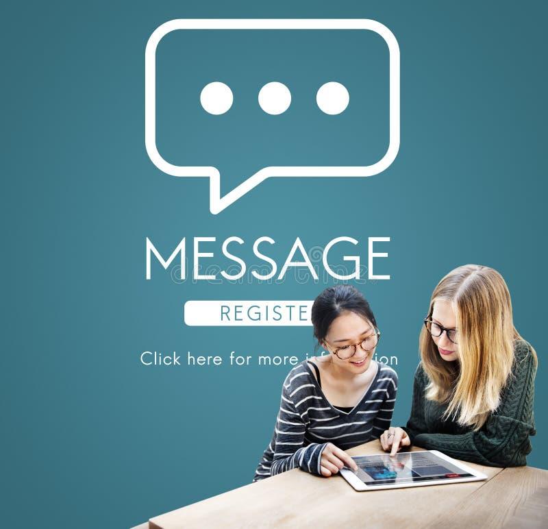 Concept en ligne de conversation de communication de message photographie stock
