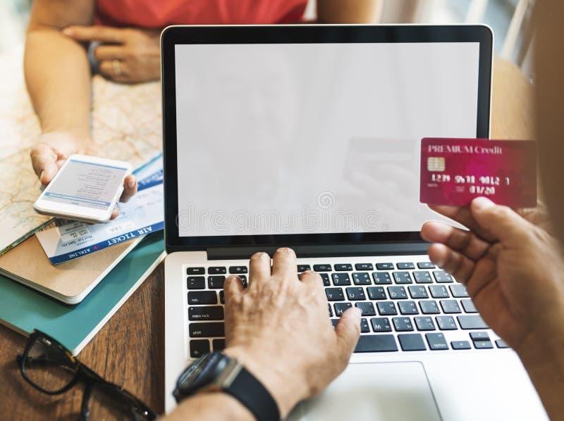 Concept en ligne de maquette de l'espace de copie d'achats de carte de crédit images stock