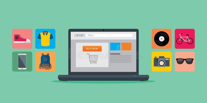 Concept en ligne de mobile de commerce électronique d'achats illustration de vecteur